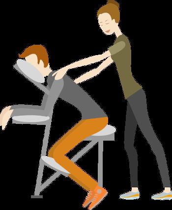 event massage auf dem Massagestuhl