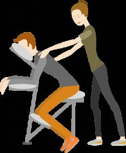 mobile massage köln auf dem Massagestuhl flatdesign neckattack